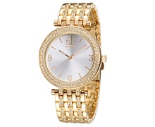 SK Brand Luxury Rhinestone Steel Women Watches