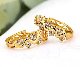 1 Pair Crystal Zircon 18K Gold Plated Earrings