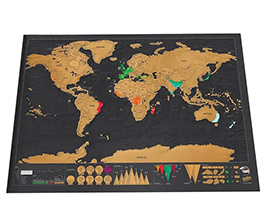 World Travel Map Poster Copper Foil Wall Sticker